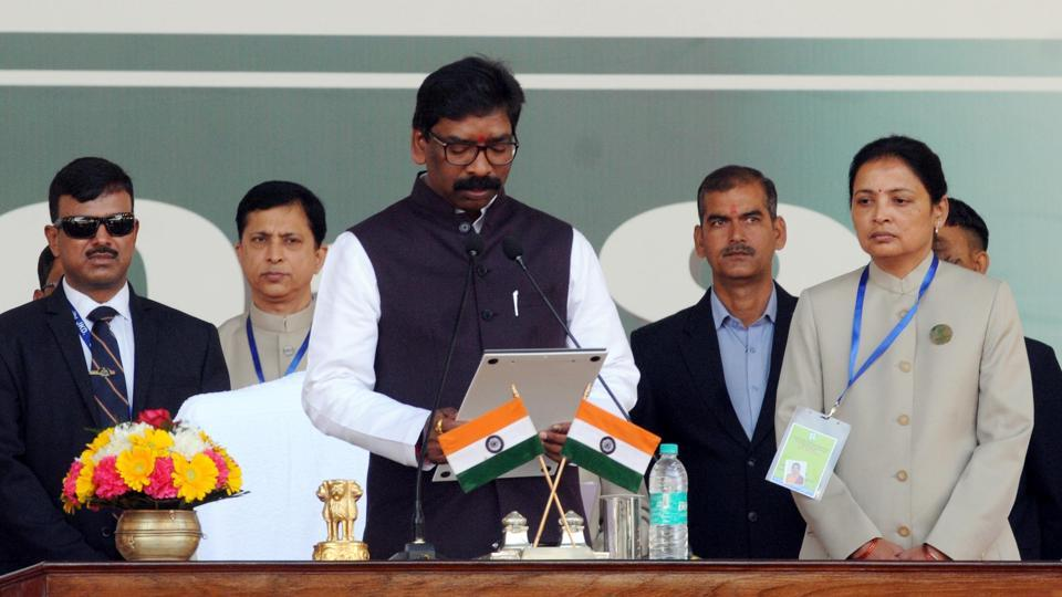 Hemant Soren presided over the first cabinet meeting of the newly elected coalition government in Jharkhand hours after taking oath  as the state Chief minister.