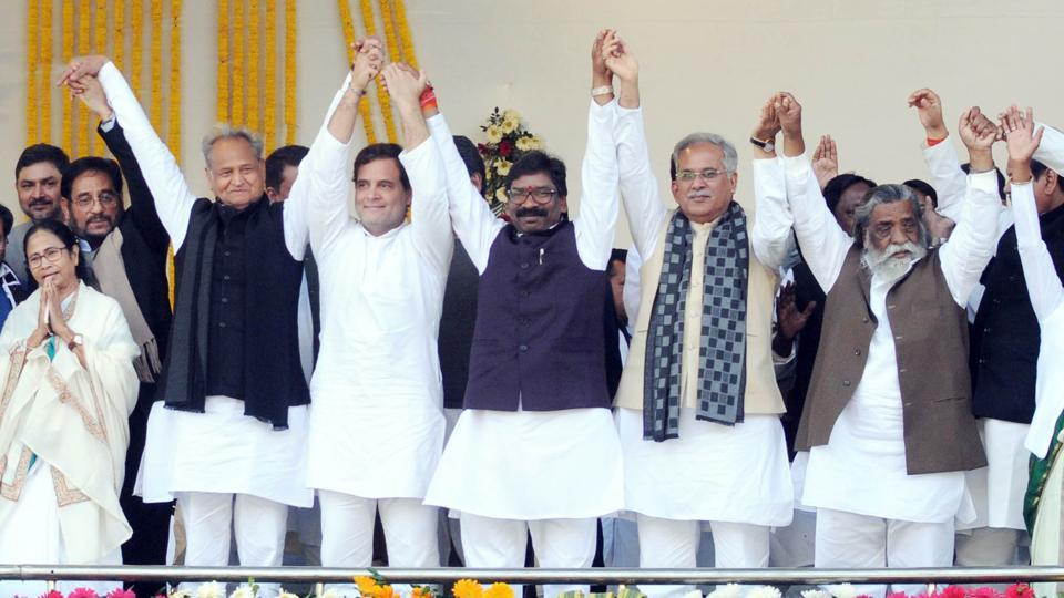 Jharkhand chief minister Hemant Soren with a galaxy of politicians, including Rahul Gandhi, Mamta Banerjee, Ashok Gahlot ,Bhupesh Baghel, Sitaram Yechuri , D Raja, Sitaram Yechuri, JMM President Sibu Soren , and others at Morhabadi ground in Ranchi, on Sunday, December 29, 2019.