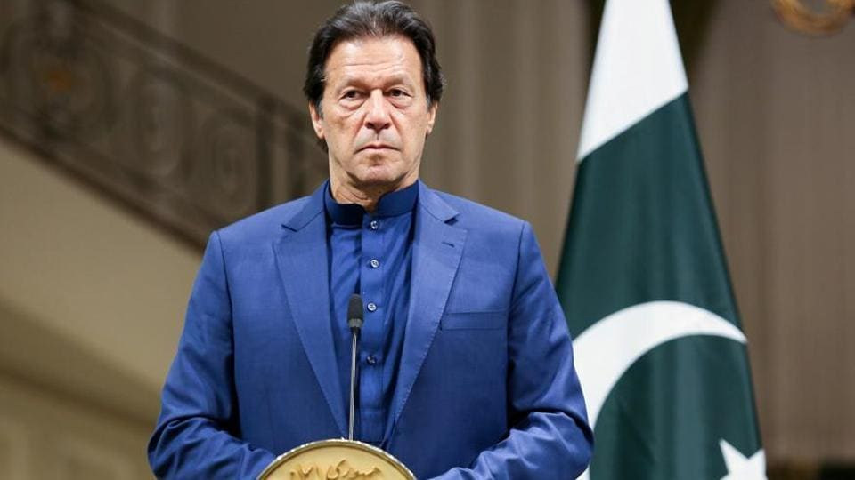 Pakistani Prime Minister Imran Khan during a press conference.