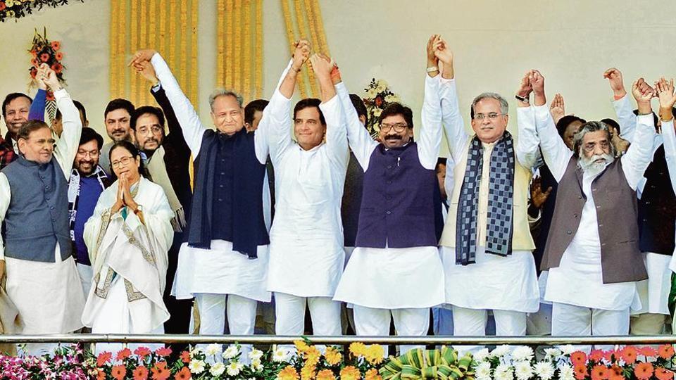 Chief Minister Hemant Soren after being administered the oath of office, is seen accompanied by Rahul Gandhi, Mamata Banerjee, Ashok Gehlot, Bhupesh Baghel, Sitaram Yechuri, D Raja, , JMM President Shibu Soren , and others at Morabadi ground in Ranchi.