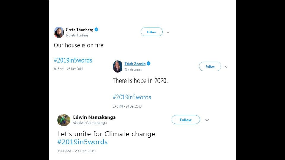 Greta Thunberg posts strong message for #2019in5words.