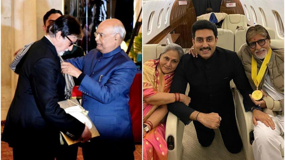 Amitabh Bachchan was accompanied by wife Jaya Bachchan and son Abhishek Bachchan as he received the Dadasaheb Phalke Award from President Ram Nath Kovind on Sunday.