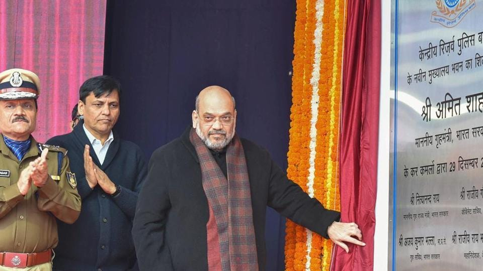 Union Home Minister Amit Shah during the foundation laying ceremony of Directorate General building of CRPF in New Delhi.