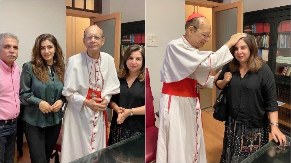 Farah Khan and Raveena Tandon got blessings from Cardinal Oswald Gracias.