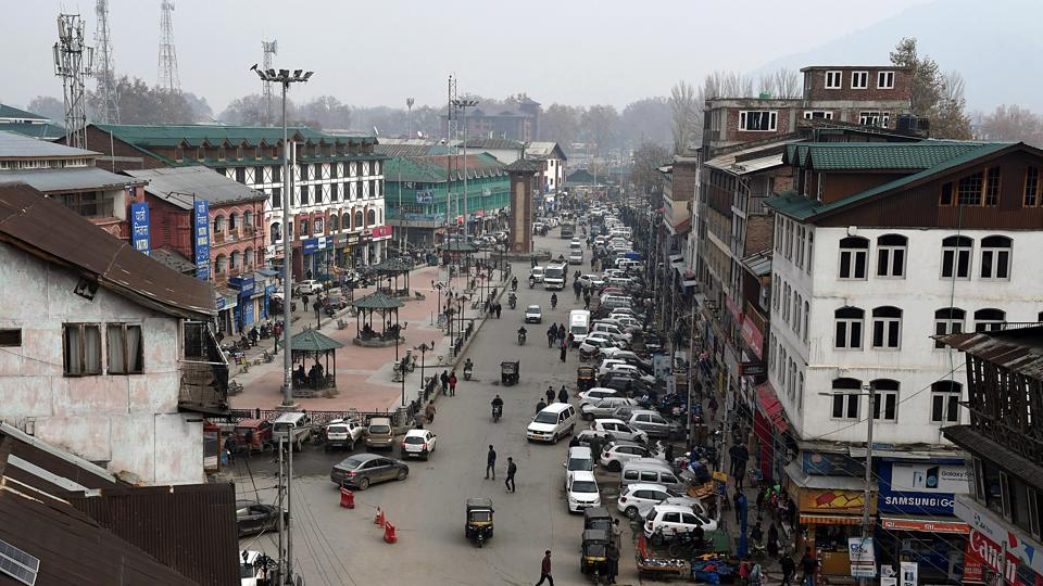 A general view of Lal Chowk in Srinagar