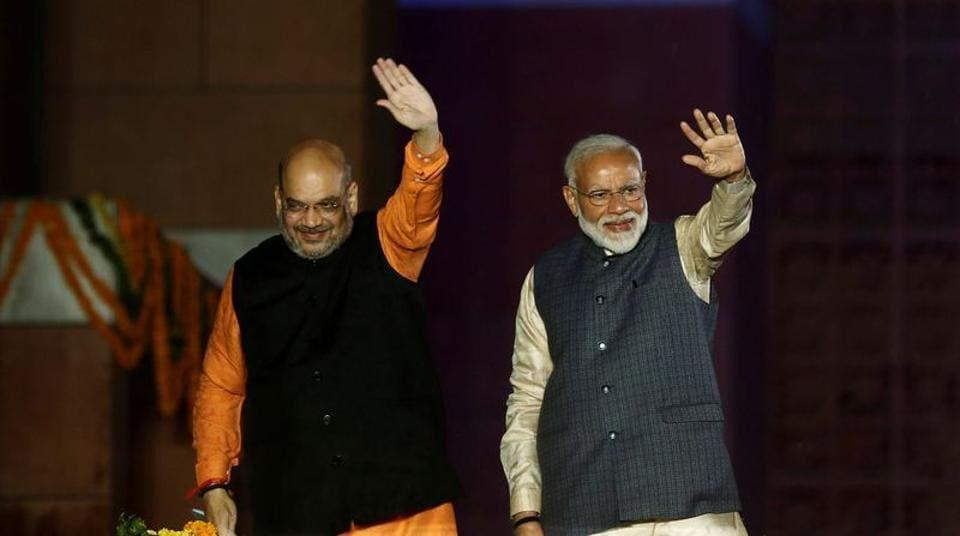 Prime Minister Narendra Modi and Home Minister Amit Shah at BJP headquarter in New Delhi.