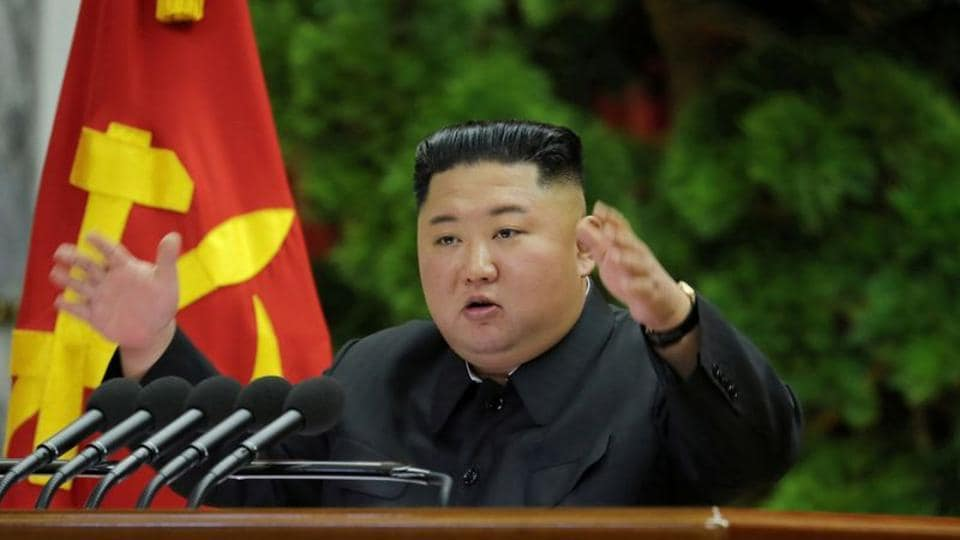 North Korean leader Kim Jong Un speaks during the 5th Plenary Meeting of the 7th Central Committee of the Workers' Party of Korea (WPK)