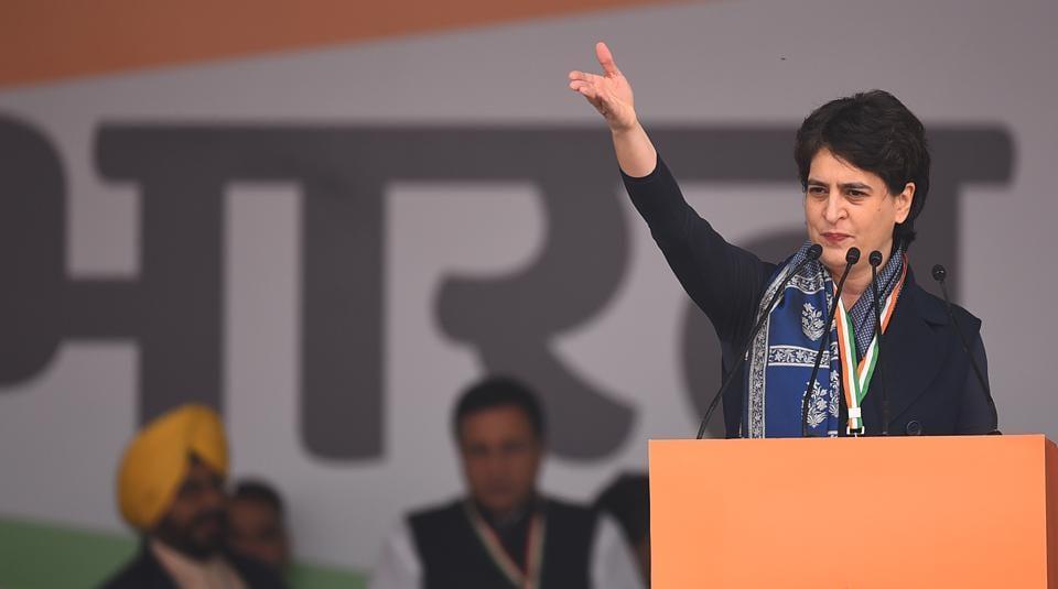 General Secretary of All India Congress Committee Priyanka Gandhi Vadra addresses the gathering during Bharat Bachao rally, at Ramlila Maidan, in New Delhi.
