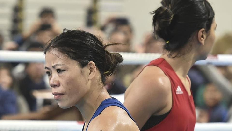 Boxer Mary Kom during her bout against Nikhat Zareen