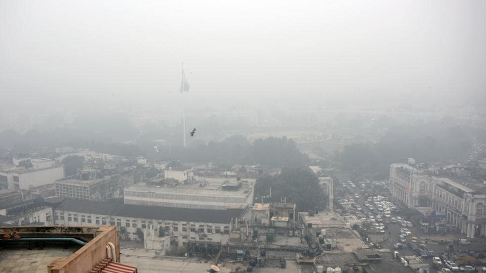 An aerial view of Delhi's Connaught Place on Monday, December 30.