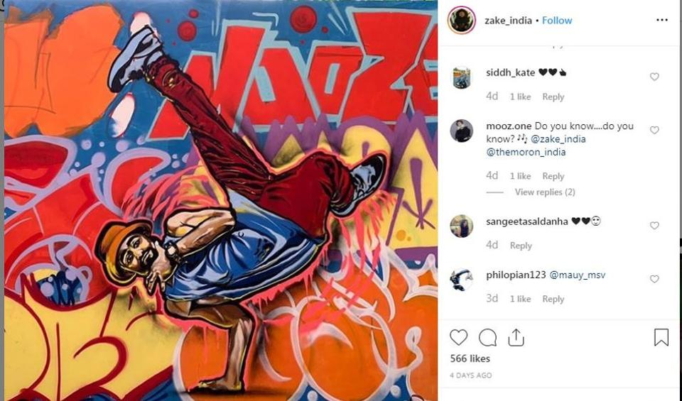 Zake's art is all over the city. Check out his most iconic walls, on his Insta page.