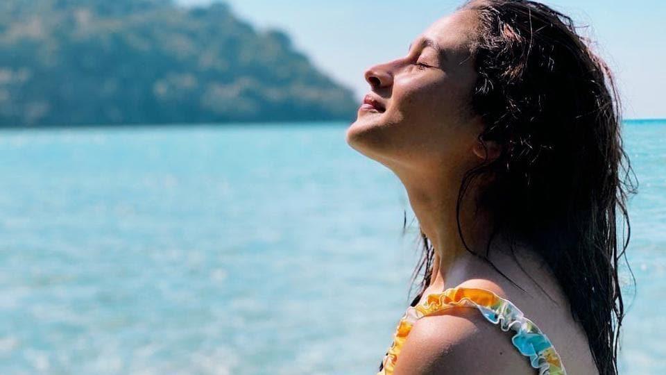 Alia Bhatt soaks in some sun during her beach vacation.