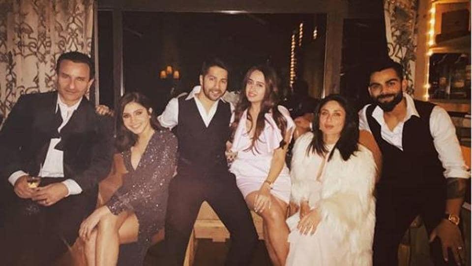 Bollywood stars -Kareena,Saif,Varun, his girlfriend Natasha, Virat and Anushka - party in Europe.