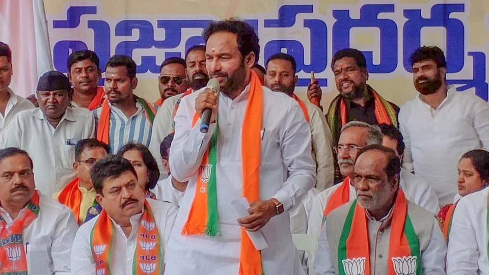 Union Minister of State for Home Affairs G Kishan Reddy addresses a rally in support of CAA in Hyderabad on Monday.