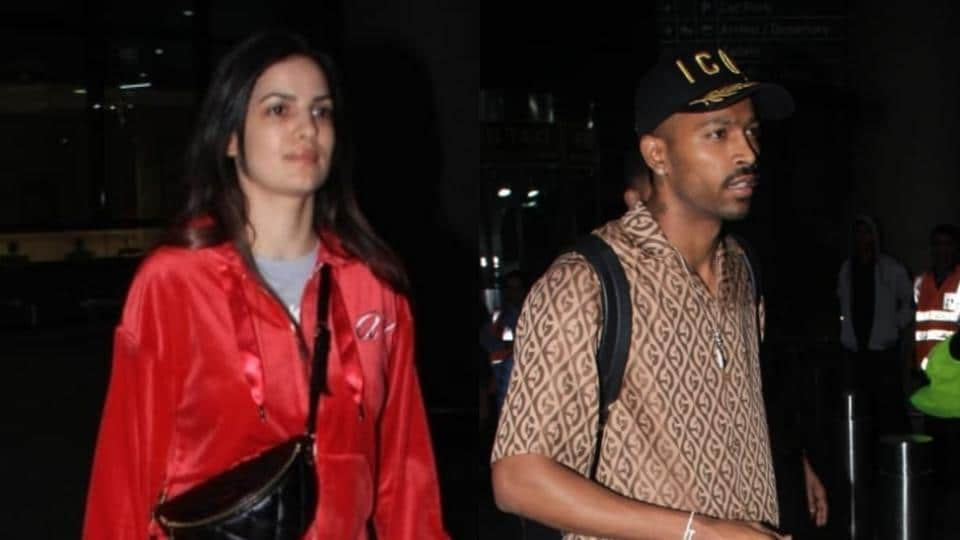 Natasa Stankovic and Hardik Pandya arrive at the Mumbai airport.