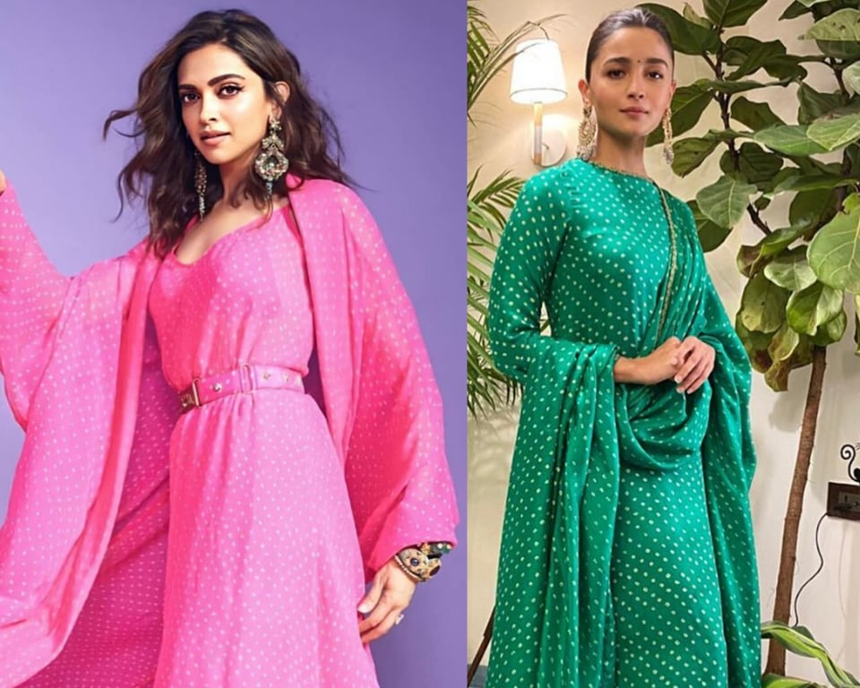 The actors were both spotted wearing similar Sabyasachi outfits, while Alia's was the simple sea-green Bandhani kurta dupatta combo, Deepika's pink version of the same Bandhani collection was a dress and cape combo. (INSTAGRAM)