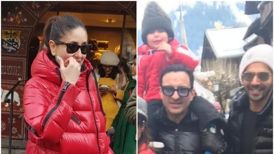 Kareena Kapoor and Taimur twin in red in Switzerland, Saif Ali Khan is joined by Varun Dhawan. See latest...