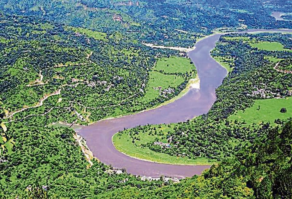 An aerial image of the Beas river.