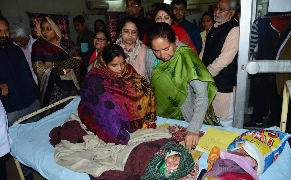Political leaders visit the Kota hospital in which at least 100 infants died in December