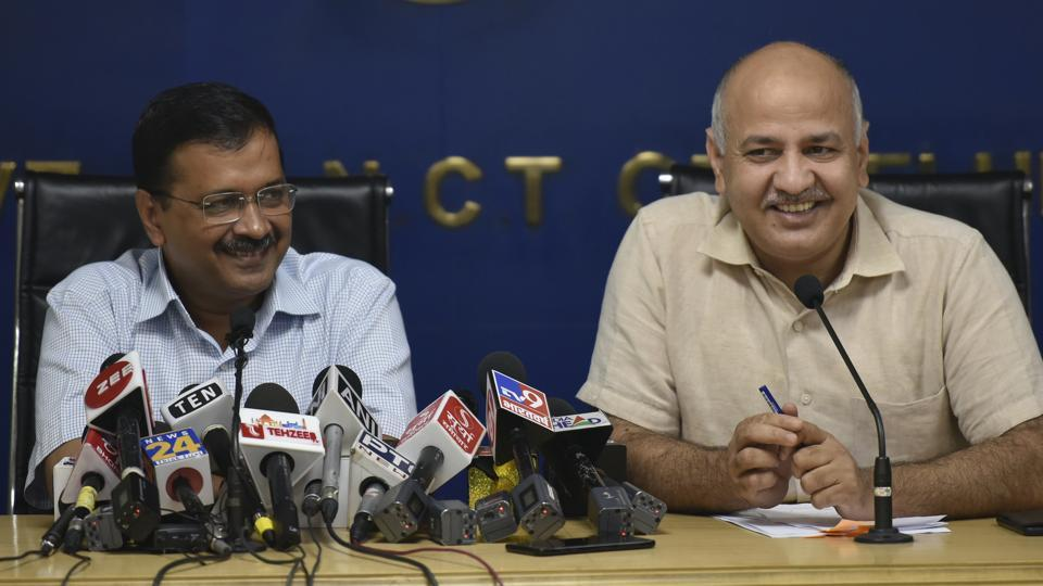 Chief Minister Arvind Kejriwal and Deputy Chief Minister Manish Sisodia speaks to media during a press conference, at Media Center, Delhi Secretariat, in New Delhi.