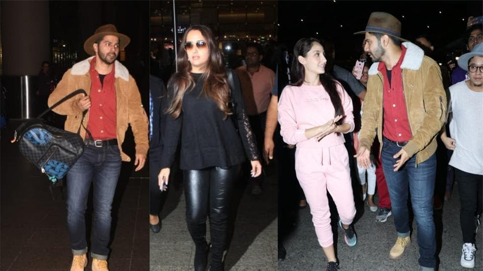 Varun Dhawan, Natasha Dalal, Nora Fatehi seen at the Mumbai airport.