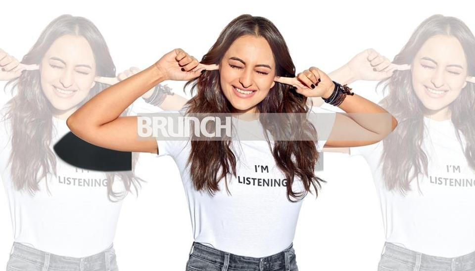 Styling by Sanam Ratansi; Make-up: Heema Dattani; Hair: Madhuri Nakhale; Sonakshi wears T-shirts from H&M customised with messages that have helped her ward off trolls on social media; Jeans, Zara