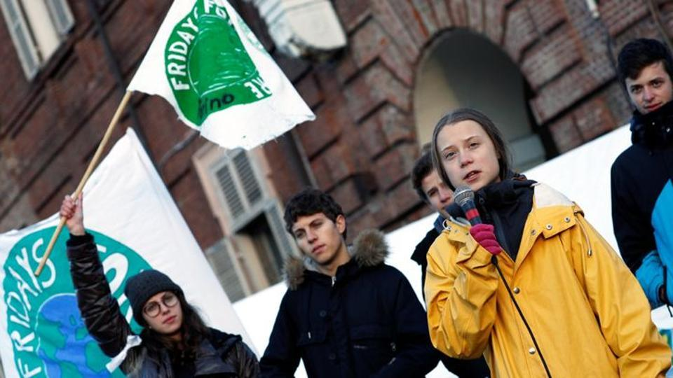 Climate change activist Greta Thunberg speaks during a Fridays for Future protest in  Italy.