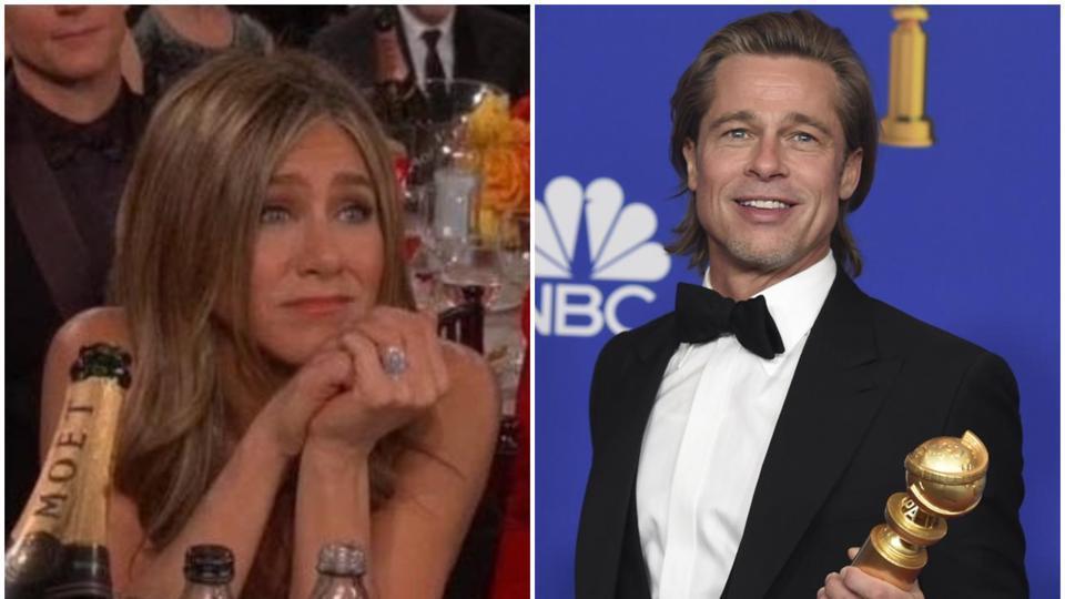 GoldenGlobes 2020: Netizens could not stop gushing over Jennifer Aniston's reaction to Brad Pitt's acceptance speech.