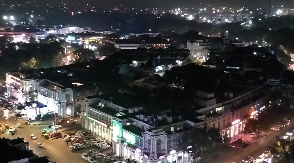 An aerial view of Connaught place during clear weather in New Delhi on January 3, 2020.