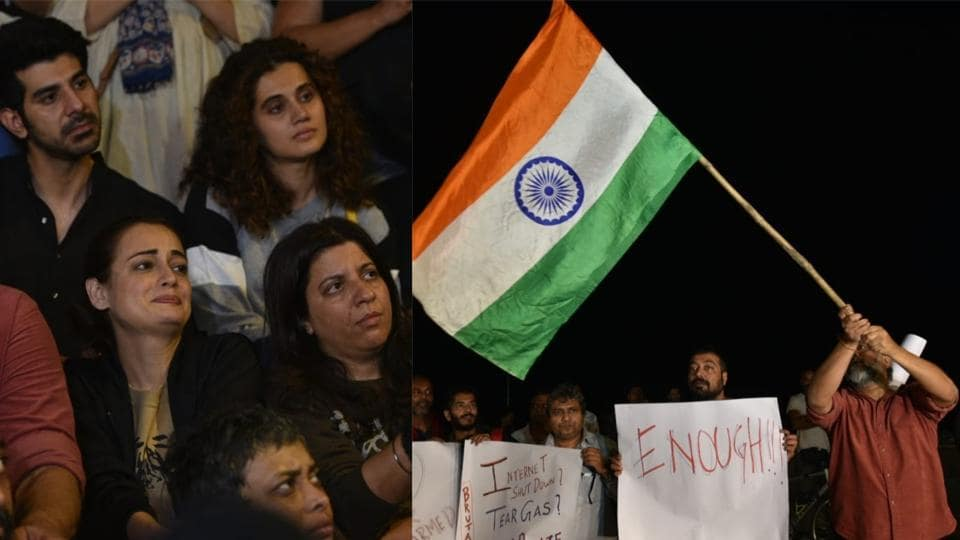 Taapsee Pannu, Dia Mirza and Zoya Akhtar were among several Bollywood celebrities protesting in Mumbai against JNU violence in Delhi.