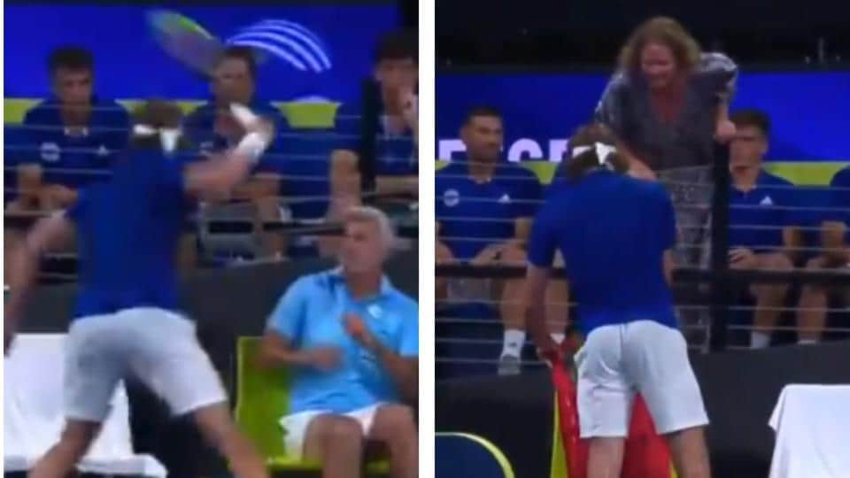 Stefanos Tsitsipas Accidently Hits Father In Anger Gets Scolding From Mother On Court Watch Tennis Hindustan Times