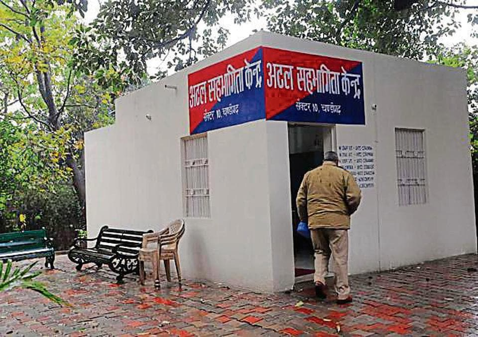 A police beat box at Sector 10 in Chandigarh.
