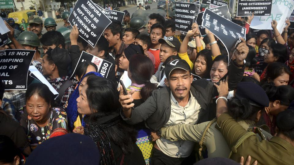 Demonstrators protest against the CAA during a strike called by NESO, in Agartala on December 11, 2019.