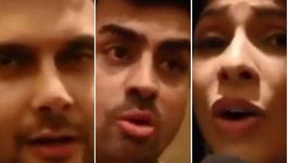 Amar Upadhyay, Pritam Singh and Tanishaa Mukerji in a screengrab from the video.