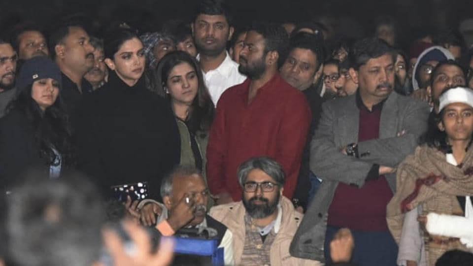 Actor Deepika Padukone is seen at a gathering at JNU in solidarity with the students against Sunday's violence in the presence of JNUSU president Aishe Ghosh and CPI(M) leader Kanhaiya Kumar, in New Delhi, India, on Tuesday, January 07, 2020.