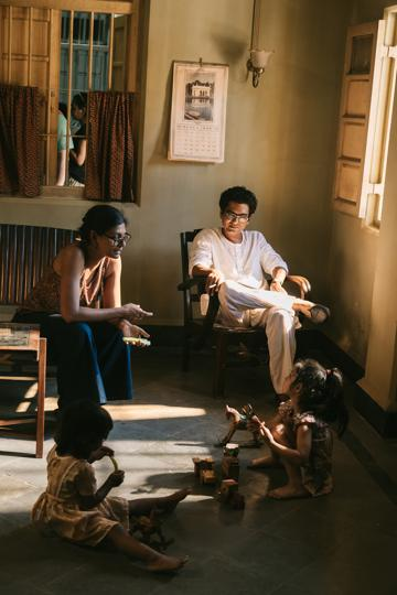Nandita Das explaining a scene to child actors on the sets of Manto (2018) as Nawazuddin Siddiqui looks on.