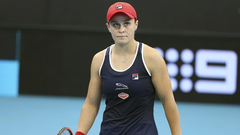 Ashleigh Barty of Australia reacts after missing a shot.