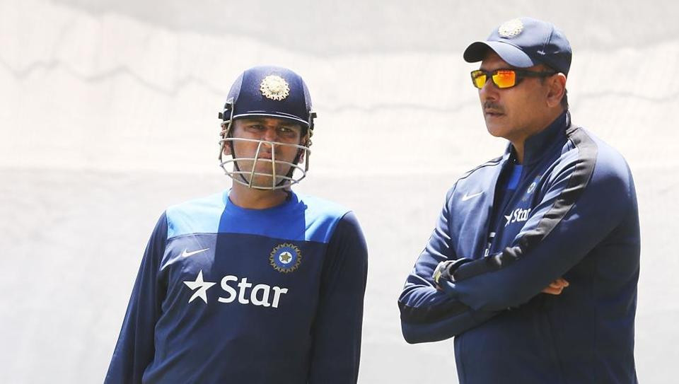 File image of MS Dhoni and Ravi Shastri