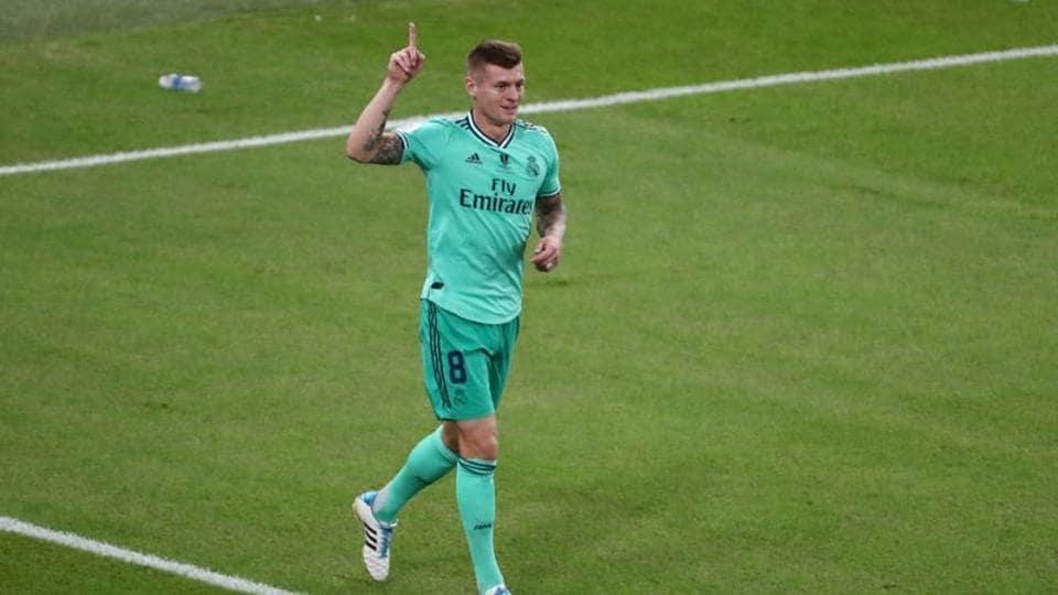 Real Madrid's Toni Kroos celebrates scoring their first goal.