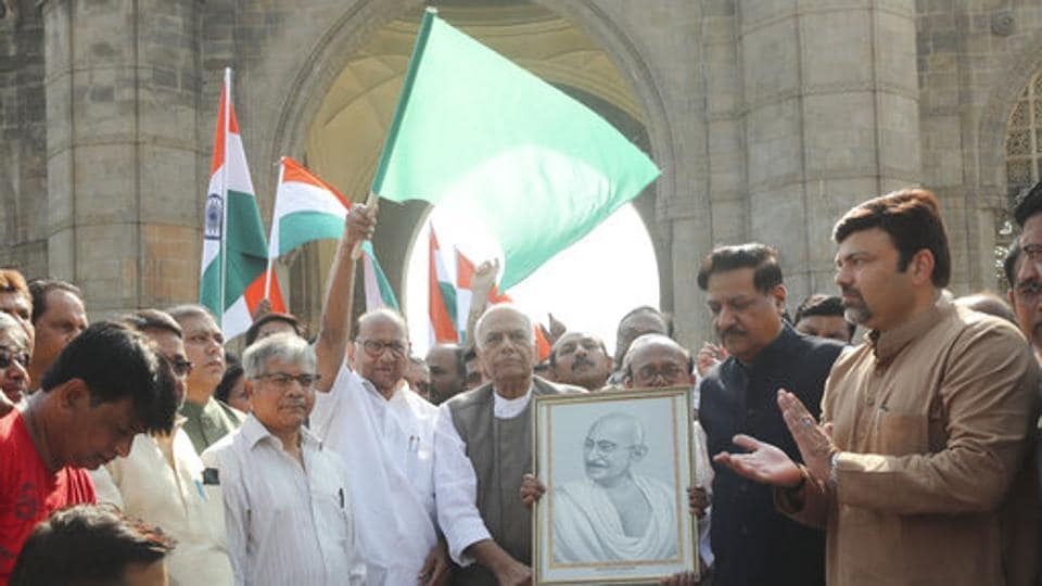 NCP chief Sharad Pawar flagging-off the Gandhi Peace Yatra against CAA and NRC tp be led by former Union minister Yashwant Sinha.