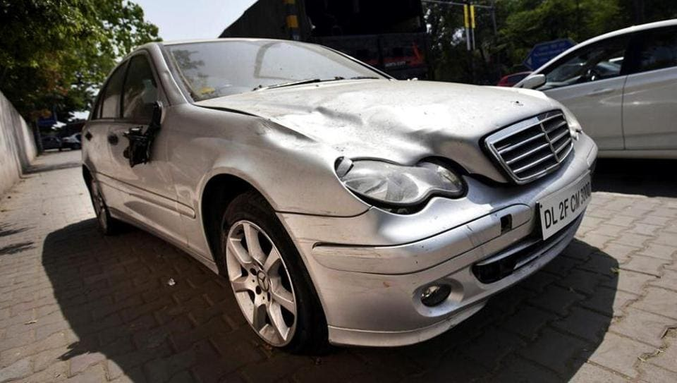 The Mercedes-Benz that the juvenile was driving when he ran over marketing professional Siddharth Sharma, 32, on April 4, 2016, in north Delhi's Civil Lines.