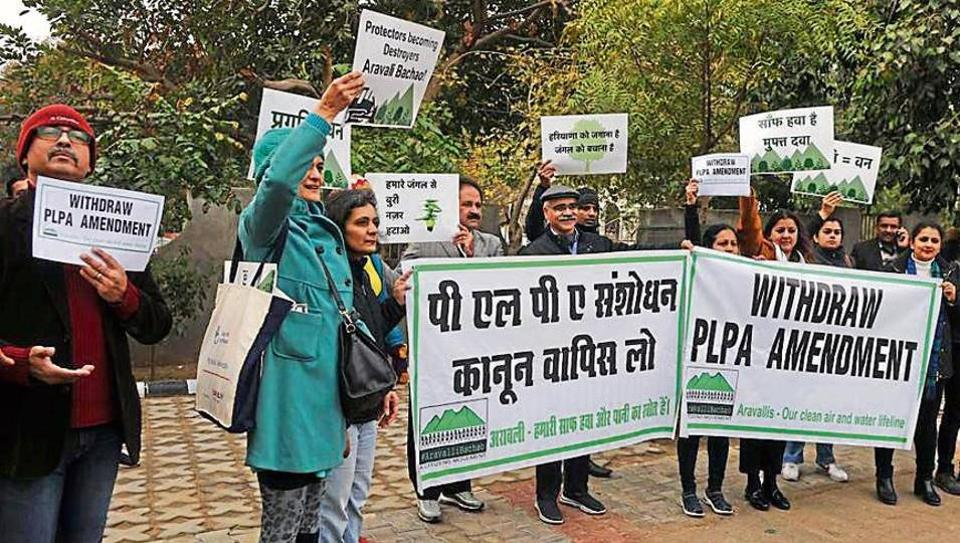 A group of residents, activists and environmentalists held a silent protest outside John Hall, where the CM was holding a public grievance redressal meeting on January 9, 2020.