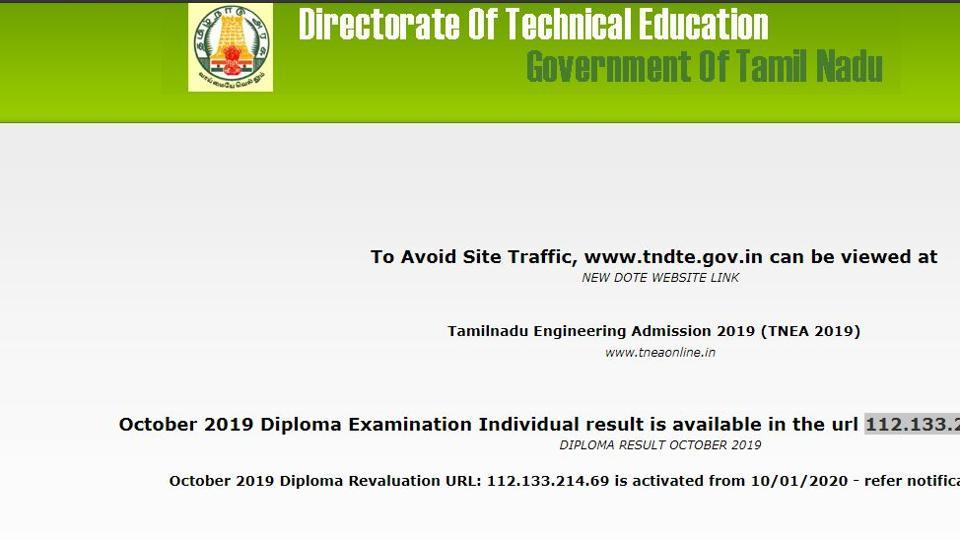 Tamil Nadu Directorate of Technical Education (TNDTE) on Friday declared the Diploma Results. The examination was held in October 2019.