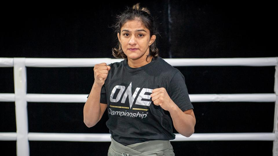 India's Ritu Phogat poses at the Fighting Bros Club ahead of her One Championship: Age of Dragons mixed martial arts debut.