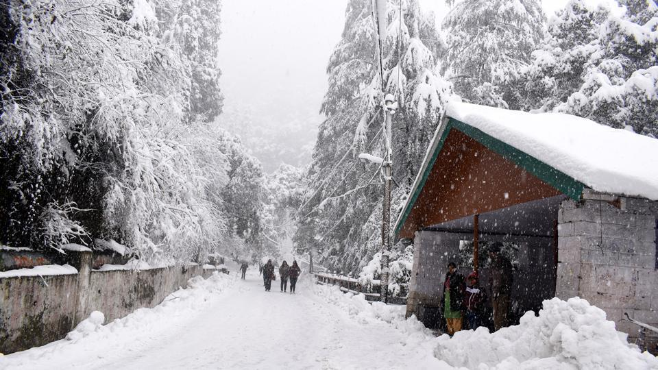 People walk along a snow covered road at Sanjauli-IGMC hospital road, Shimla. The tourist town of Dharamshala experienced mild snow after a gap of eight years. The hill town last received heavy snow on January 7, 2012. The uphill camp of Triund overlooking Dharamshala, also received heavy snowfall. (Deepak Sansta/HT Photo)
