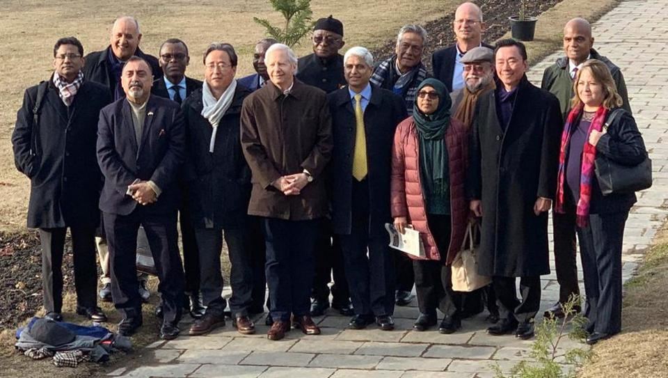 The delegation of foreign envoys at the banks of the Dal Lake in Srinagar on Thursday. The group is on a two-day visit to Jammu & Kashmir to assess the ground situation.