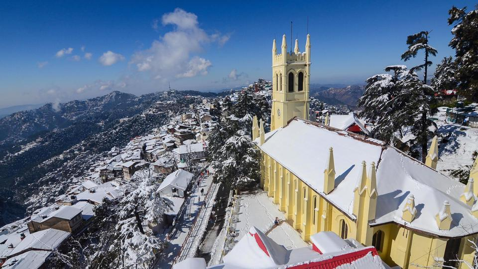 A blanket of snow covers Shimla on Thursday. Even as the skies cleared on Thursday, normal life in Himachal Pradesh continued to remain paralysed as power and water supply remained affected in several parts of the state. The mercury dipped to minus 3.7 degrees Celsius, the lowest this season in Shimla. (PTI)