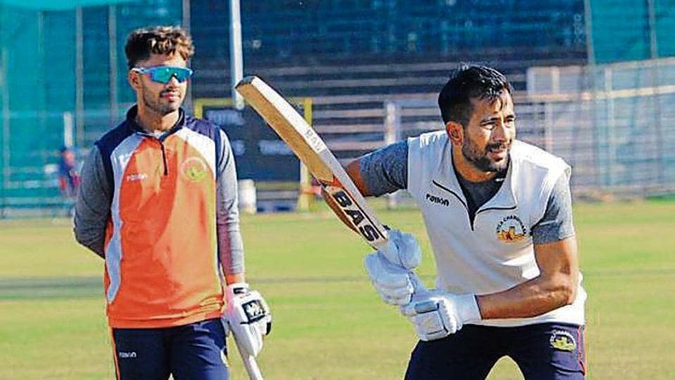 Players of Chandigarh's Ranji team during practice on the eve of their game against Sikkim, in Chandigarh on Friday.