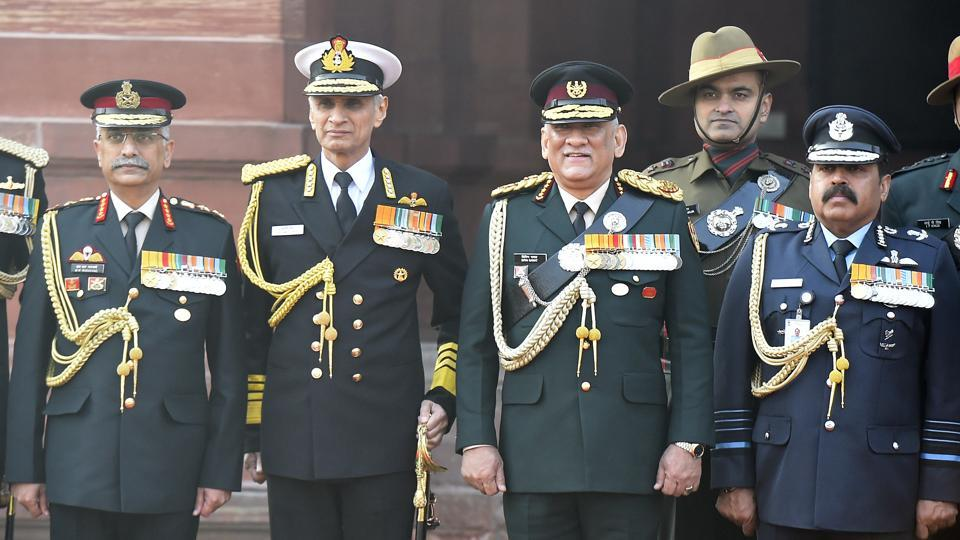 CDS Gen Bipin Rawat with Army chief Gen MM Naravane (left), Navy chief Admiral Karambir Singh (2nd from left) and Air Chief Marshal RKS Bhadauria in New Delhi on January 1.
