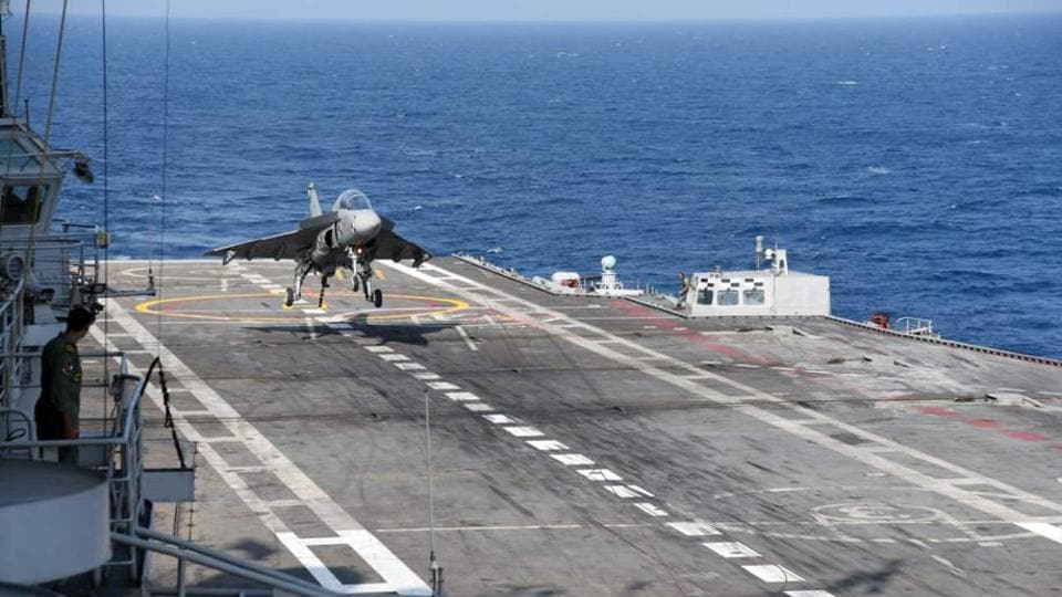 The naval version of LCA made its first arrested landing on the deck of INS Vikramaditya on Saturday.